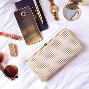 50s JR vintage faux pearl hard shell clutch purse